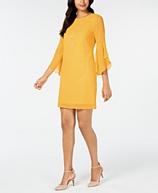Flared-Sleeve Necklace Dress, Created for Macy's