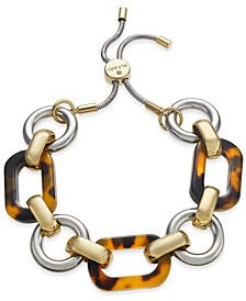 Two-Tone & Tortoise-Look Link Slider Bracelet, Created for Macy's