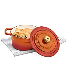Martha Stewart Collection 2-Qt. Enameled Cast Iron Dutch Oven with Pumpkin Knob, Created for Macy's