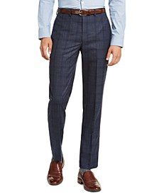 Men's Slim-Fit Blue Plaid Suit Pants