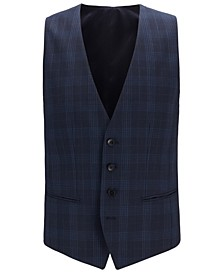 BOSS Men's Huge Slim-Fit Checked Virgin Wool Serge Vest