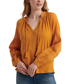Lucky Brand Cotton Peasant Top