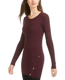 BCX Juniors' Button-Trimmed Rib-Knit Tunic Sweater