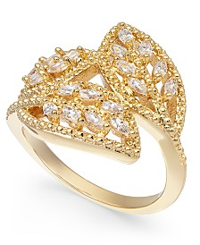 Charter Club Gold-Tone Crystal Wrap Leaf Ring, Created For Macy's