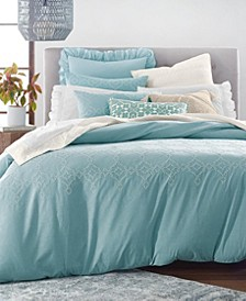 Cotton Reversible 3-Pc. Tile Seed Stitch Full/Queen Duvet Cover Set, Created for Macy's