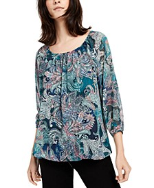 Petite Printed Bubble-Sleeve Top
