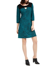 NY Collection Petite Contrast-Yoke Keyhole Shift Dress