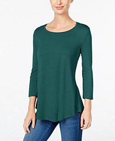 JM Collection Petite 3/4-Sleeve Scoop-Neck Top, Created for Macy's