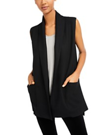 Eileen Fisher Open-Front Shawl-Collar Vest
