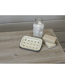 VIP Home International Cream Metal Enamelware Soap Dish