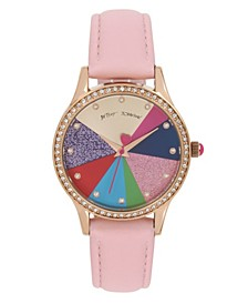 Multi-Colored Pie Chart Dial & Pink Strap Watch 39mm