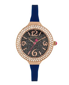 Betsey Johnson Blue Glitter Dial & Silicone Strap Watch 33.5mm