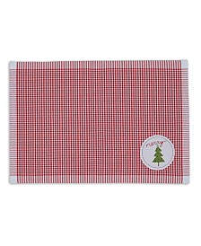 Design Imports Merry X-mas Tree Embroidered Placemat Set
