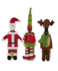 Design Imports Santa, Reindeer and Elf Wine Bottle Outfits Set