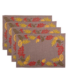 Design Imports Shimmering Leaves Embroidered Placemat Set