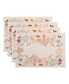 Design Imports Autumn Leaves Embellished Placemat Set