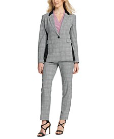 Plaid One-Button Blazer, Side-Ruched Top & Plaid Fixed-Waist Skinny Pants
