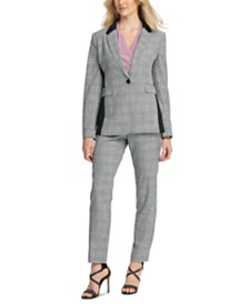 DKNY Plaid One-Button Blazer, Side-Ruched Top & Plaid Fixed-Waist Skinny Pants