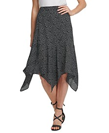 Dot-Print Handkerchief-Hem Midi Skirt