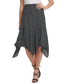 DKNY Dot-Print Handkerchief-Hem Midi Skirt