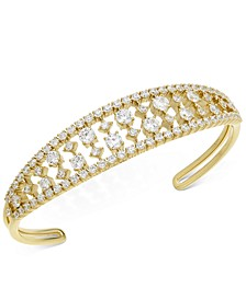 Gold-Tone Cubic Zirconia Open Cuff Bracelet, Created For Macy's
