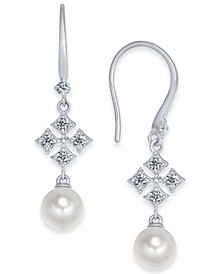 Silver-Tone Imitation Pearl & Cubic Zirconia Drop Earrings, Created For Macy's