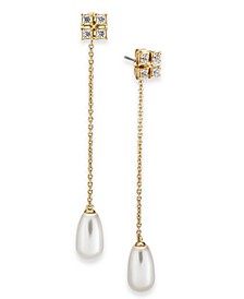 Imitation Pearl & Cubic Zirconia Linear Chain Drop Earrings, Created For Macy's
