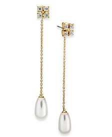 Eliot Danori Imitation Pearl & Cubic Zirconia Linear Chain Drop Earrings, Created For Macy's