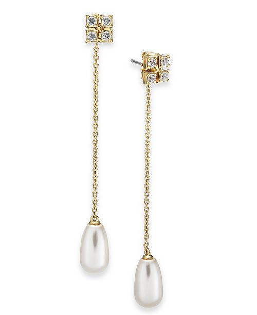 Eliot Danori Imitation Pearl & Cubic Zirconia Linear Chain Drop Earrings, Created For Macy's
