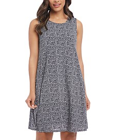 Leopard Print A-Line Sleeveless Dress