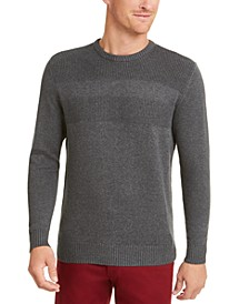 Men's Cotton Solid Textured Crew Neck Sweater, Created For Macy's