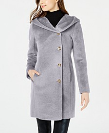 Hooded Asymmetrical Wool-Alpaca Blend Coat