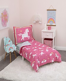 Rainbows and Unicorns 4-Piece Toddler Bedding Set