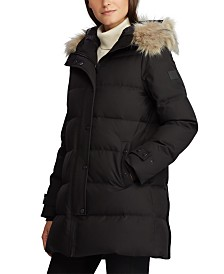 Lauren Ralph Lauren Faux-Fur-Trim Hooded Down Puffer Coat
