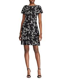 Floral-Print Flutter-Hem Crepe Dress