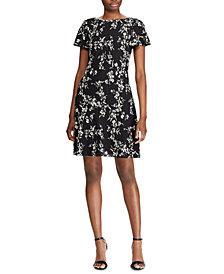 Lauren Ralph Lauren Floral-Print Flutter-Hem Crepe Dress