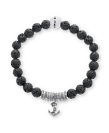 Steve Madden Men's Oxidized Stainless Steel Anchor Lava Beaded Stretch Bracelet