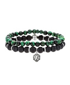 Steve Madden Men's Malachite and Black Bead with Lion Head Charm Bracelet