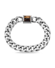 Steve Madden Men's Simulated Tigers Eye Square Station Curb Chain Magnetic Bracelet
