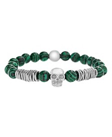 Men's Malachite Beads and Skull Station Stretch Bracelet