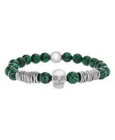 Steve Madden Men's Malachite Beads and Skull Station Stretch Bracelet