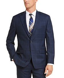 Men's Classic-Fit Airsoft Stretch Navy Blue Plaid Suit Jacket