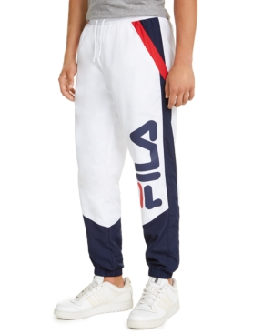 Fila Men's Gustavo Colorblock Logo Joggers In White/peacoat/ Chinese Red