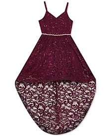 Big Girls Sequin Lace High-Low Dress