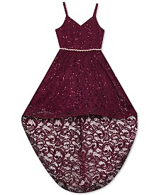 Rare Editions Big Girls Sequin Lace High-Low Dress