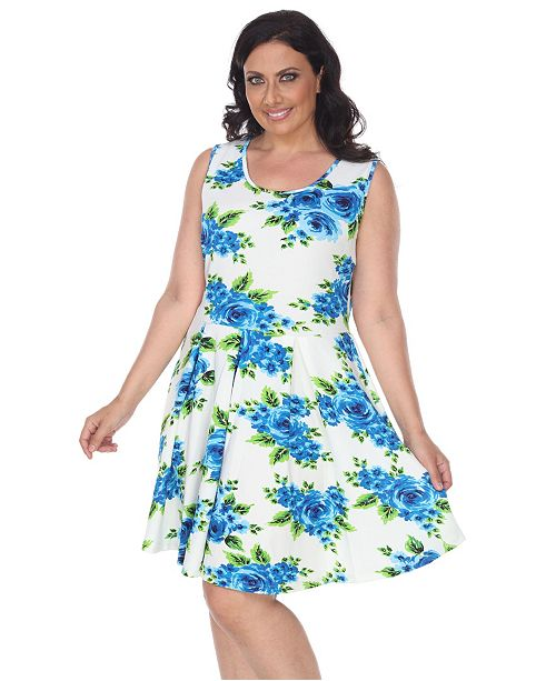 White Mark Women's Plus Size Floral Print Crystal Dress