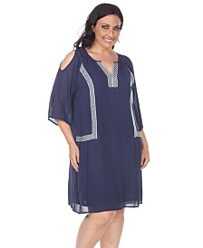 White Mark Women's Plus Size Marybeth Embroidered Dress