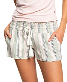 Juniors' Oceanside Cotton Striped Shorts