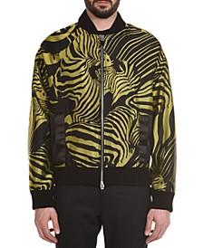 Men's Jacquard Zebra Print Bomber Jacket