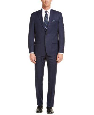 Men's Classic-Fit UltraFlex Stretch Blue Check Suit Pants